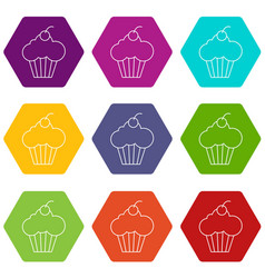 sweet cupcake icons set 9 vector image