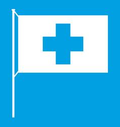 switzerland flag icon white vector image
