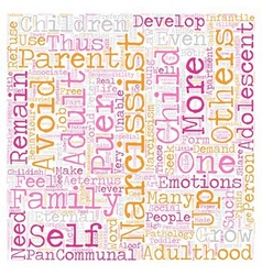 The Narcissist as Eternal Child text background vector image