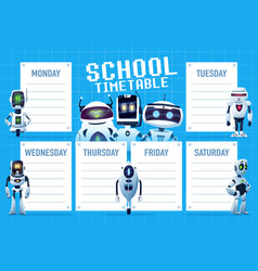 Timetable schedule with cartoon robots and droids vector