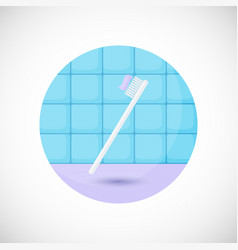 Toothbrush with paste flat icon vector
