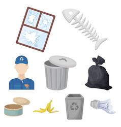 trash and garbage set icons in cartoon style big vector image