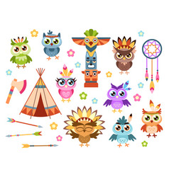 tribal owls cute indian owl characters with vector image