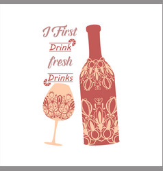 Unique auburn red bottle wine and glass champagne vector