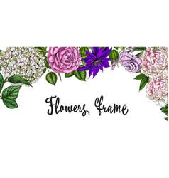 Vintage spring frame colorful blooming flowers vector