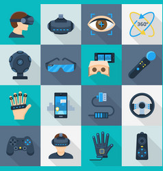 virtual reality cartoon icon flat set vector image
