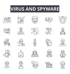 Virus and spyware line icons signs set vector
