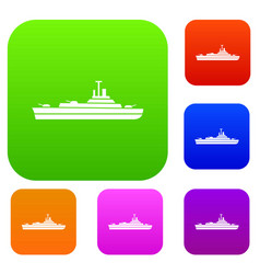 Warship set collection vector