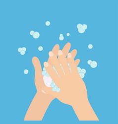 wash hands with soap soap foam bubble cute vector image