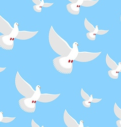 White Dove blue sky seamless pattern Flying in air vector