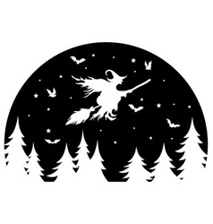 witch flying on a broomstick at night black vector image