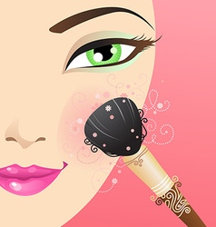 Woman applying blusher vector