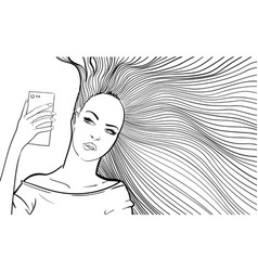 Woman with long hair taking selfie vector