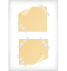 Yellow stickers with curled corner and scotch tape vector image