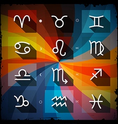 Zodiac - Horoscope Square Icons Set on Grunge vector