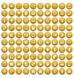 100 programmer icons set gold vector