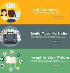 Job interview portfolio and future investment web vector image