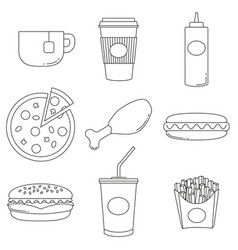 junk food logo collection poster vector image