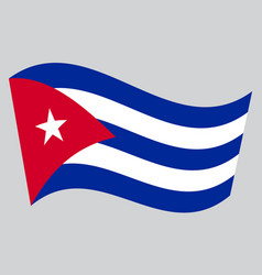 flag of cuba waving on gray background vector image vector image