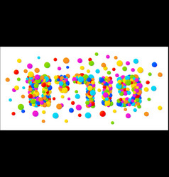 purim text with colorful confetti background vector image