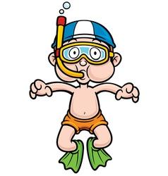Snorkeling kid vector image vector image