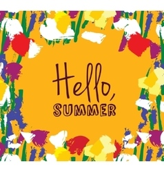 Flowers frame hello summer sign card vector image