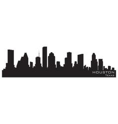 houston texas skyline detailed silhouette vector image vector image