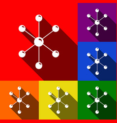 molecule sign set of icons vector image