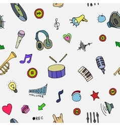 Music Doodle symbols Seamless pattern vector image