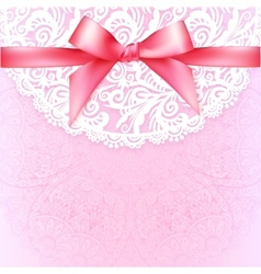 Pink lacy vintage wedding greeting card template vector image vector image