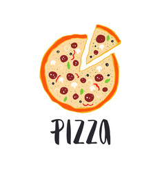 pizza lettering with hand drawn pizza circle vector image vector image