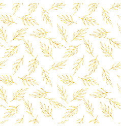 Seamless pattern gold glitter leaves vector image vector image