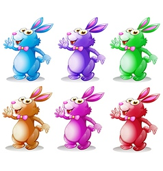 Six colorful bunnies vector image vector image