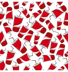 Soda beverages red paper cups seamless pattern vector image