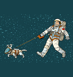 Astronaut walking dog in a space suit vector