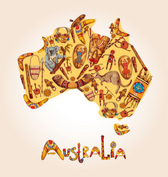 Australia sketch colored background vector
