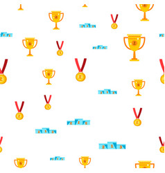 award seamless pattern gold cup prize vector image