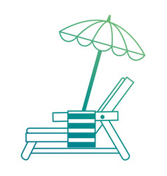 Beach chair with towel and umbrella vector
