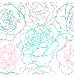 beautiful seamless pattern with outline roses vector image