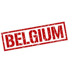 Belgium red square stamp vector