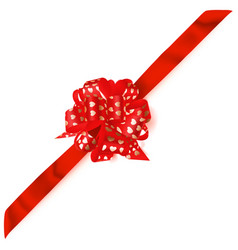 Big corner bow made of ribbon with small hearts vector