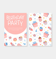 birthday party invitation card template with vector image