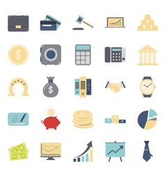Bisiness and finance flat icons set vector image
