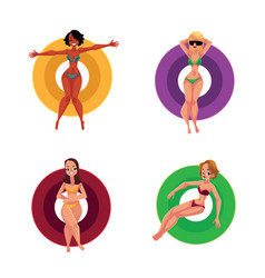 black and caucasian girls women resting on vector image