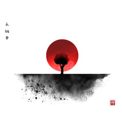 Black ink wash painting with tree and big red sun vector