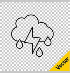 black line cloud with rain and lightning icon vector image