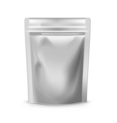 Blank foil plastic pouch food bag on white vector