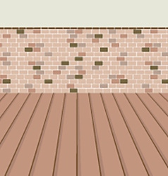 Brick Balcony With Wooden Floor vector