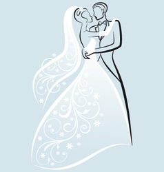 bride and bridegroom wedding couple vector image