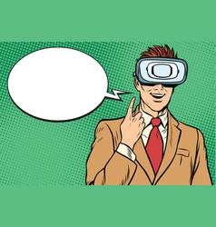 businessman in vr glasses the idea vector image